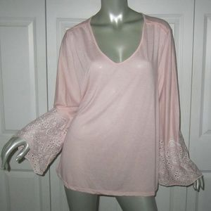 FEVER Pink Long Eyelet Sleeve Top Size 1X